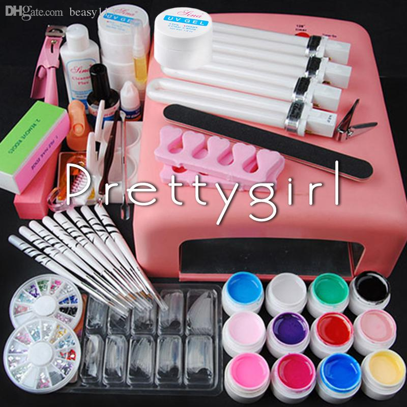 Wholesale-Pro 36W UV Dryer Lamp + 12 colored uv gel Glitter Powder French Nail Art Tips Gel Tools DIY Set # 318
