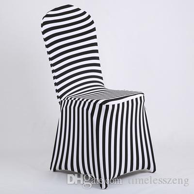 New Products Hot Sale Black and White Stripe Print Lycra Chair Cover Arch Front For Wedding Decoration & Party