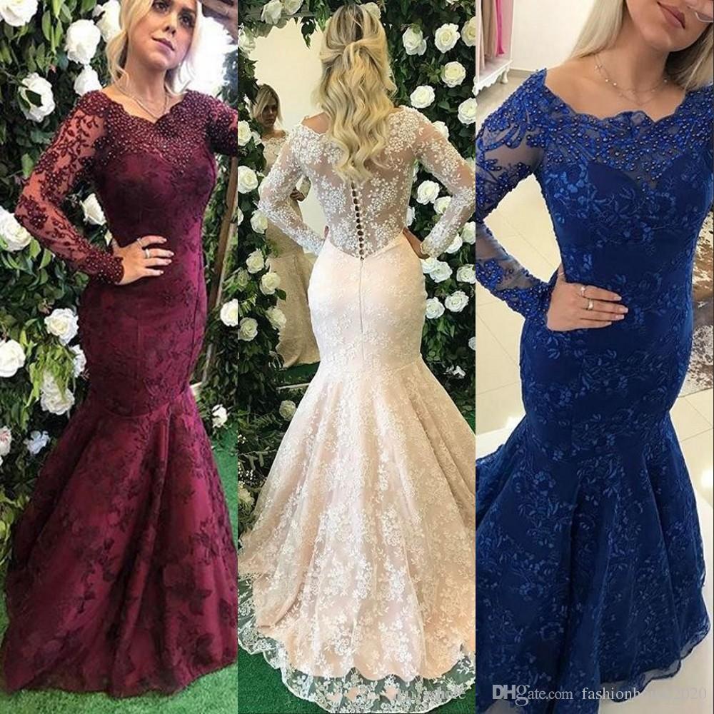 Vestidos de noche de sirena 2017 Cuello redondo Mangas largas Perlas de encaje completo Con cuentas Azul real Uva Dulce 16 Vestido de fiesta formal Vestidos de baile