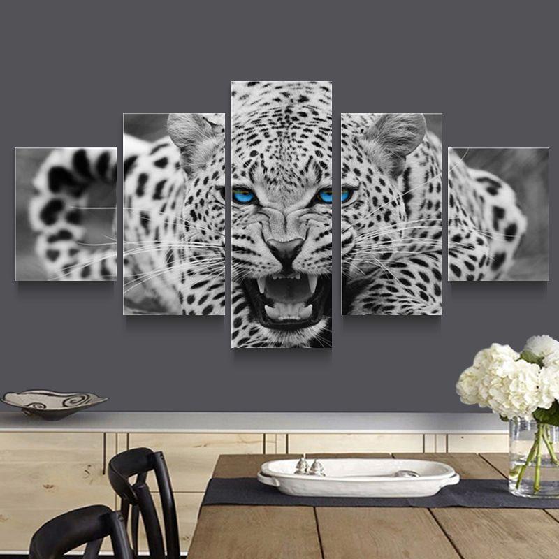 5p arte de la pared del hogar moderno hd imagen de la lona estudio de impresión decoración de la sala tema-África leopardo (sin marco)