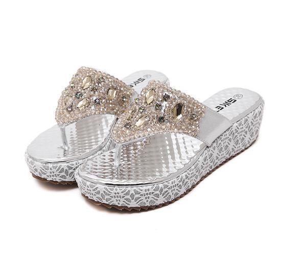 Guld Silver Crystal Flip Flops Wedge Slipper med GEM Rhinestone Sandaler Skor Fashion Platform Wedge Sandals 2014 Storlek 35 till 39