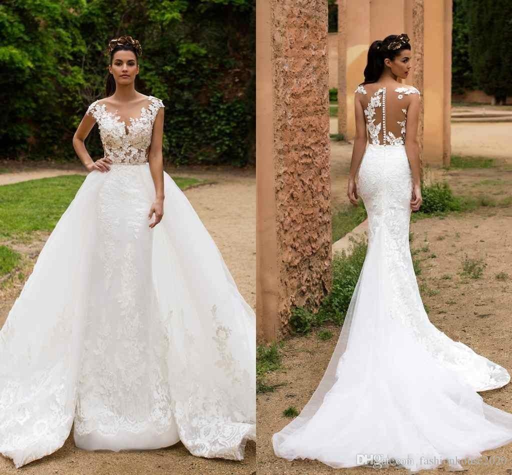 Milla Nova 2017 Mermaid Wedding Dresses V Neck Cap Sleeves Illusion Lace Appliques Court Train Sheer Back Overskirts Formal Bridal Gowns Lace Mermaid