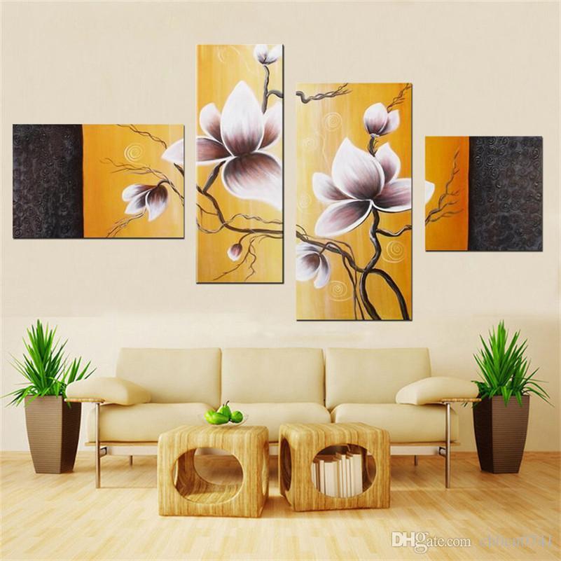 Hochwertige Kombination handgemalte Wandkunst Ruhig elegante blühende Blumen Dekoration abstraktes Landschaftsölgemälde auf Leinwand