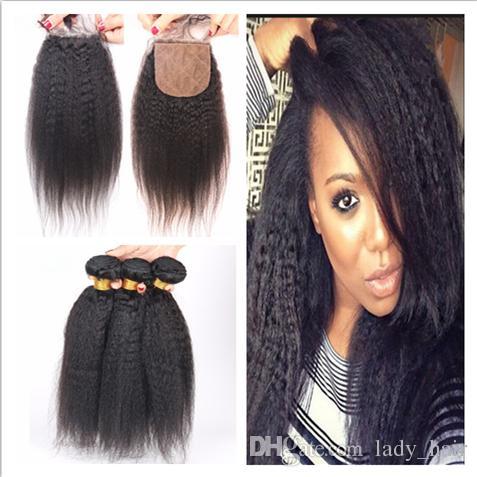 8A Brazilian Kinky Straight Hair With 4x4 Silk Base Closure 4Pcs Lot Italian Coarse Yaki Silk Top Closure With Virgin Hair Weave Bundles