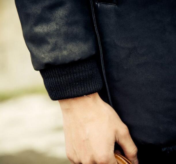 Queda-Preto quente Casaco Faux mens jaqueta de couro dos homens casacos Villus outono inverno térmica outerwear estilo britânico S-3XL