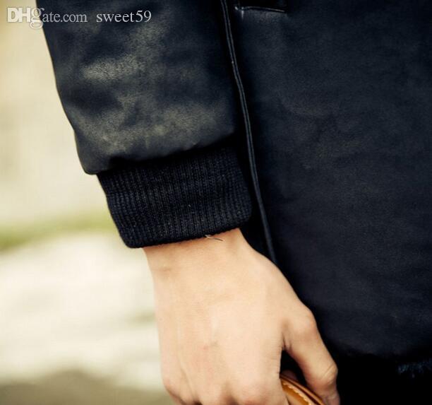 Cappotto da uomo in pelle nera da uomo autunno-inverno caldo Cappotto Villus autunno inverno tuta sportiva termica stile britannico S - 3XL