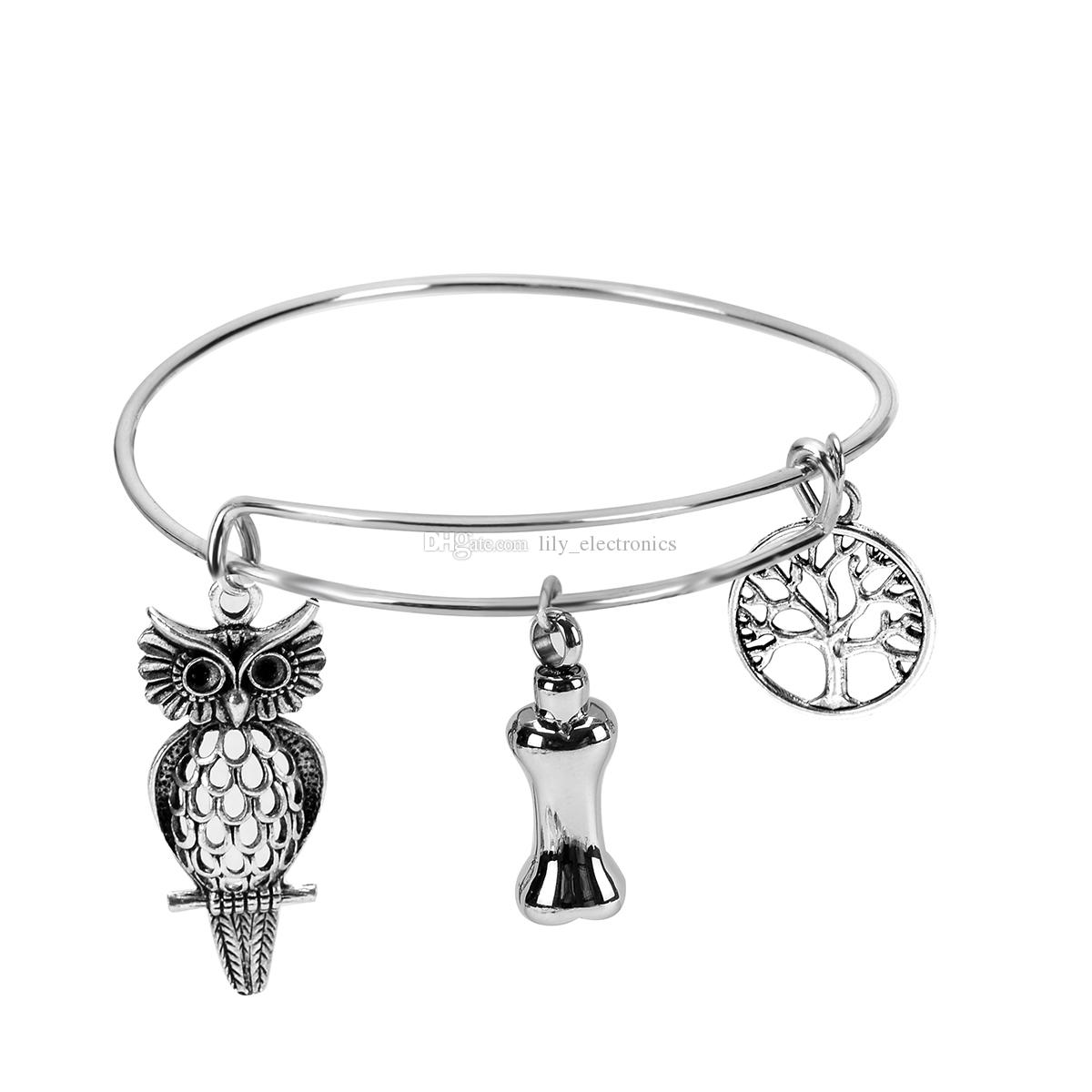 Stainless Steel DIY Dog Bone Urn Bracelet Cremation Jewelry and Owl Accessories with Gift Bag and Funnel