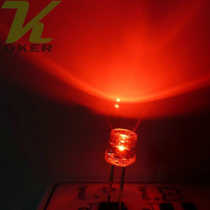 1000pcs 5mm Rosso Flat top LED Lampada led Diodi 5mm Flat Top LED ad ampio angolo ultra luminosi