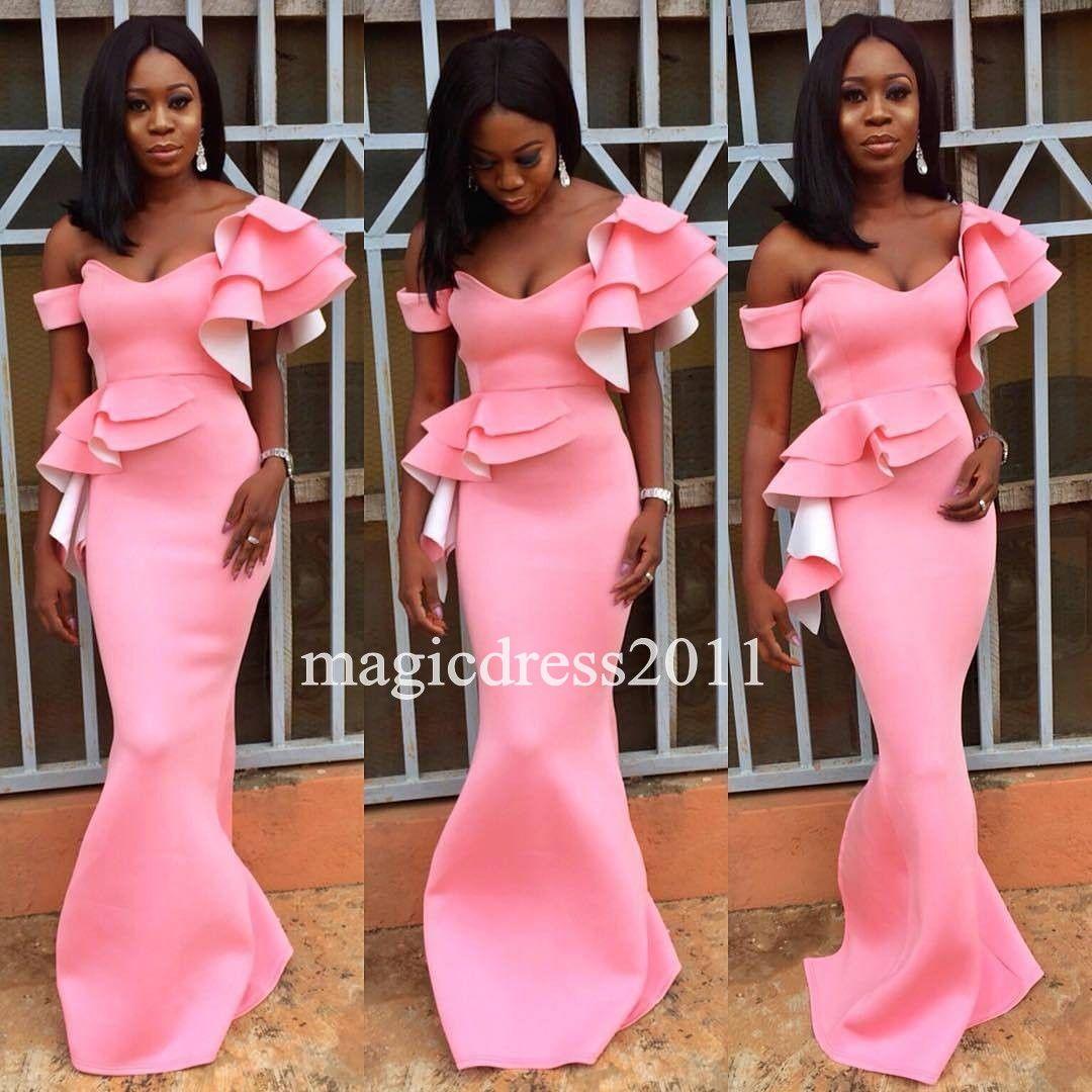 2017 Nigeria Black Girl Prom Dresses Mermaid Off Shoulder Pink Long ...