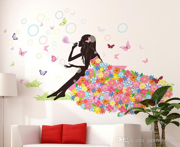 Flower Girl Butterfly Home Decal Fairies Wall Stickers Bedroom Sofa  Background Decor Girls Lady Room Window DIY Art Nursery Decals Nursery Room  Wall ...