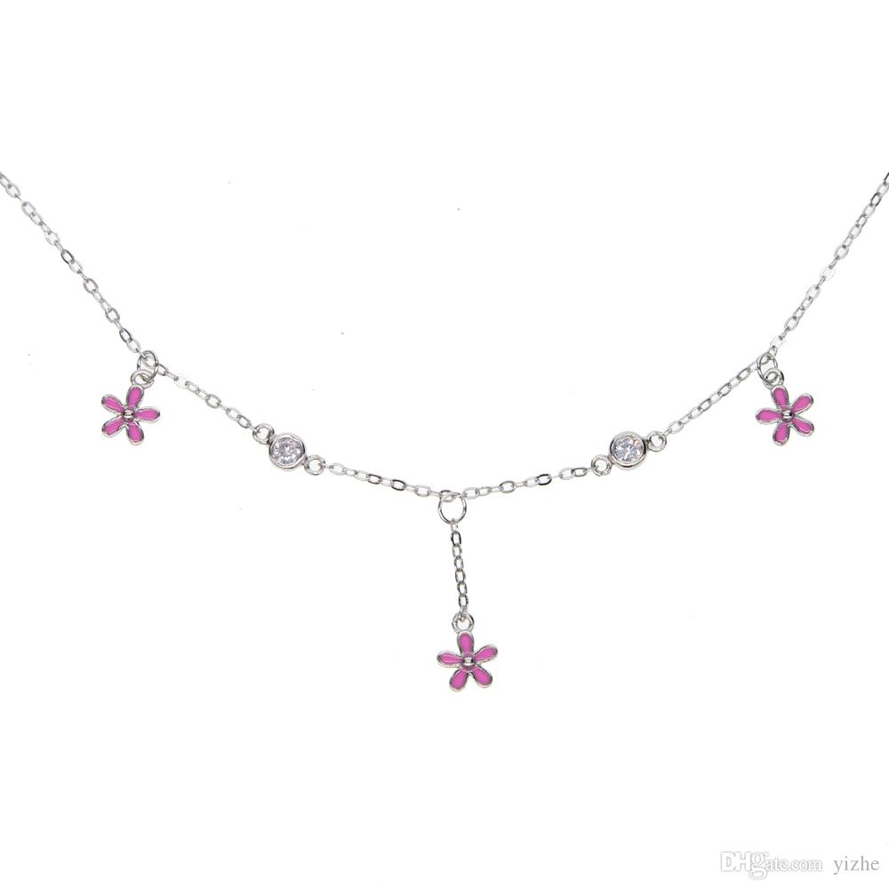 100% 925 sterling silver enamel pink black daisy flower charm charm choker fits pandora silver girl gift necklace