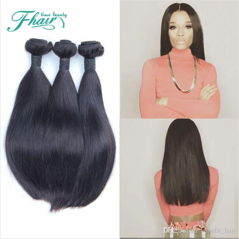 Цена резки 7A перуанский прямые волосы 3Bundles необработанные волосы утки 100 г/пучок 100% реальные наращивание волос Натуральный 1B человеческих волос ткет