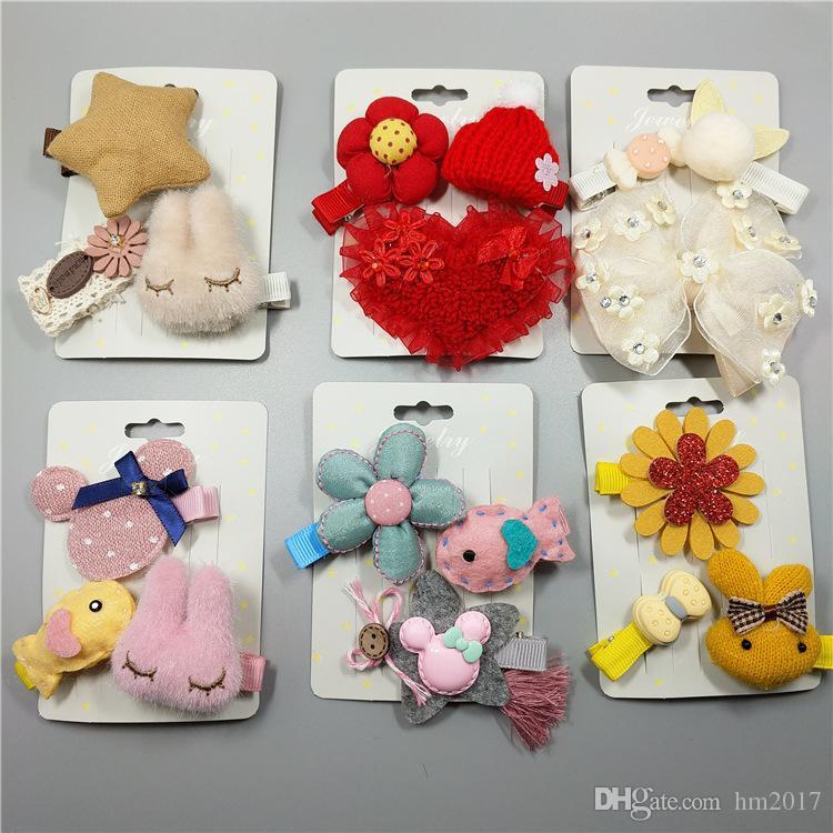3pcs / set 꽃 바 너트 머리 핀 어린이 점 만화 머리 클립 아이 소녀 손수 만든 Barrettes 액세서리 모자