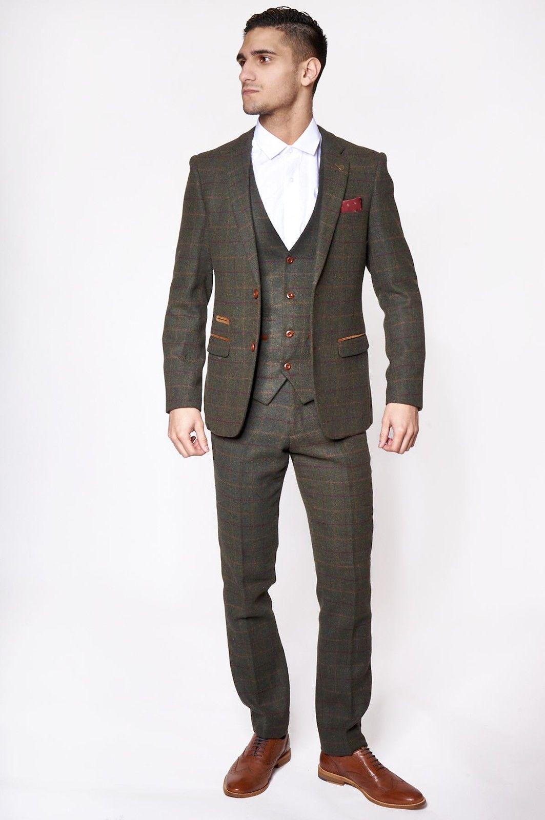 Mens Marc Darcy Designer Olive Khaki Green Tweed Three Piece ...