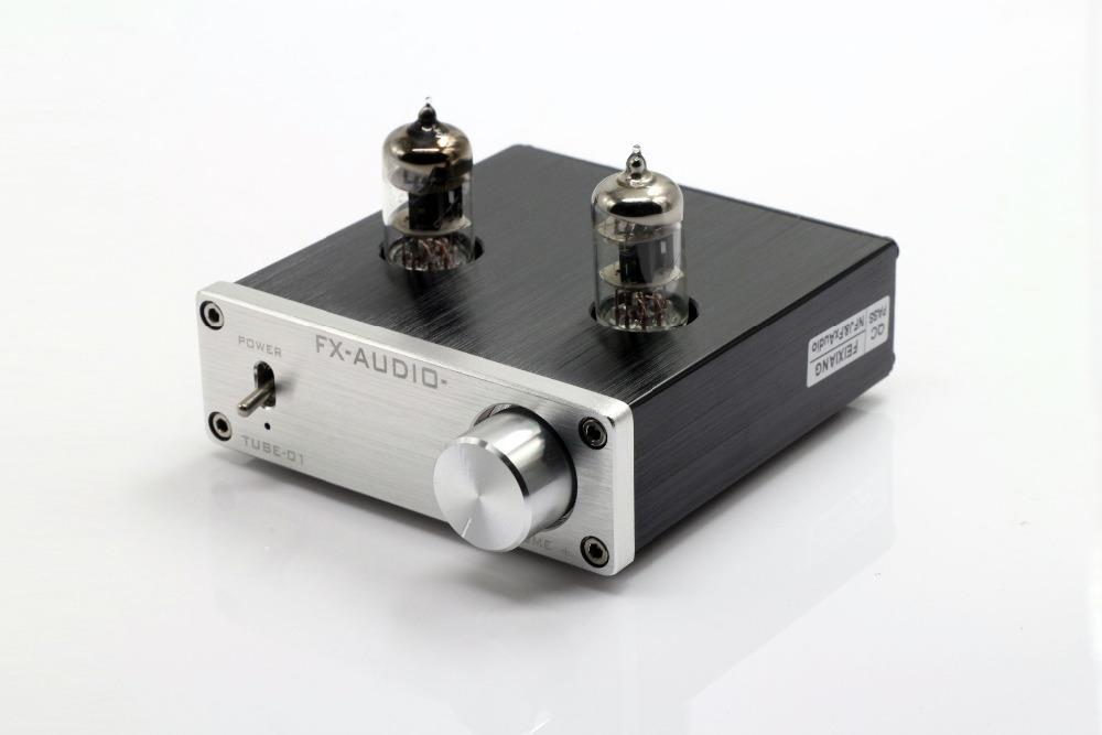 Freeshipping FX-AUDIO TUBE-01 dc12v 1a bile preamp أنبوب مكبر للصوت العازلة 6j1 مركبتي الصوت المضخم الفضة