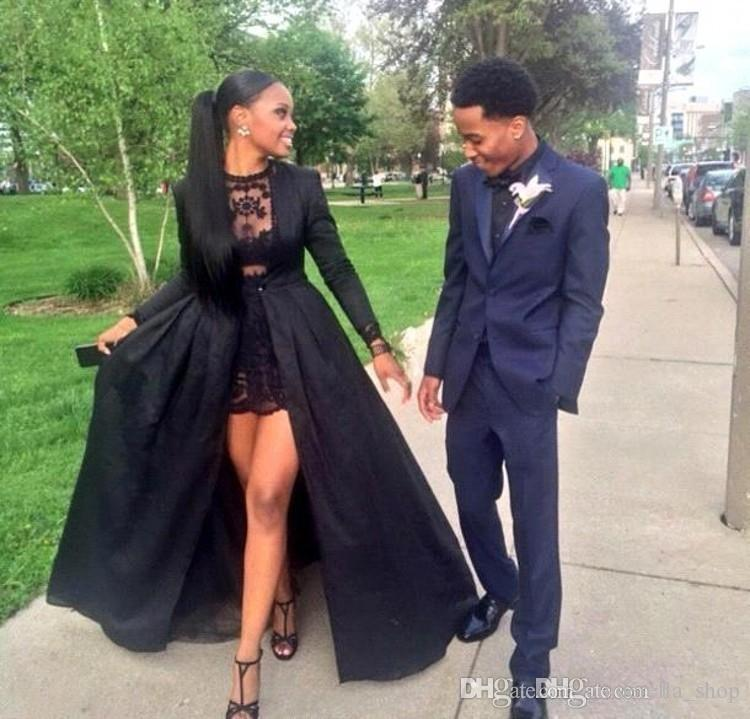 2019 Two Pieces Short Prom Dresses With Detachable Coat Jewel Sweep Train Long Party Evening Gowns African Pageant Wear Customized