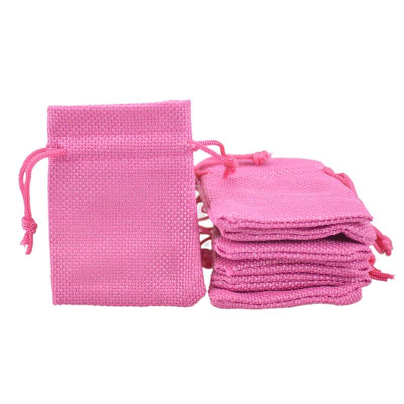 7x9 سنتيمتر زفاف لصالح الجوت الترويجية الرباط الحقيبة أكياس هدية حزمة حقيبة الخيش المجوهرات الصغيرة 50 قطع 2.5x3.3 '' روز الأحمر