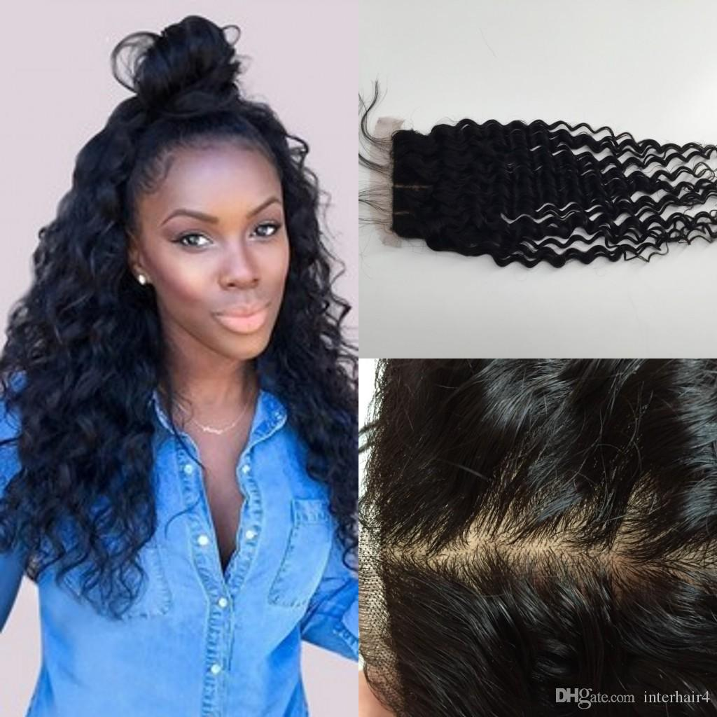 silk base closure,peruvian hair Deep wave cheap top 8-20 inch free part middle part Wet And Wavy Closure unprocessed
