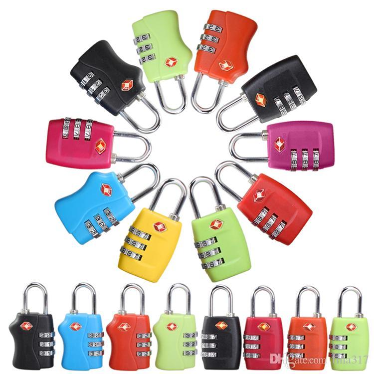 DHL free shipping Customs Luggage Padlock TSA338 Resettable 3 Digit Combination Padlock Suitcase Travel Lock TSA locks 2152