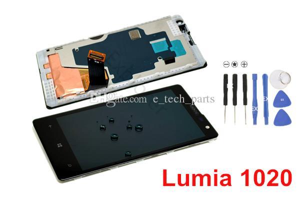 Montaj Çerçeve temperli cam için Nokia Lumia LCD Ekran + Dokunmatik Ekran Sayısallaştırıcı 1020 LCD Testi% 100 Orijinal yeni 1pcs Lot Geçti
