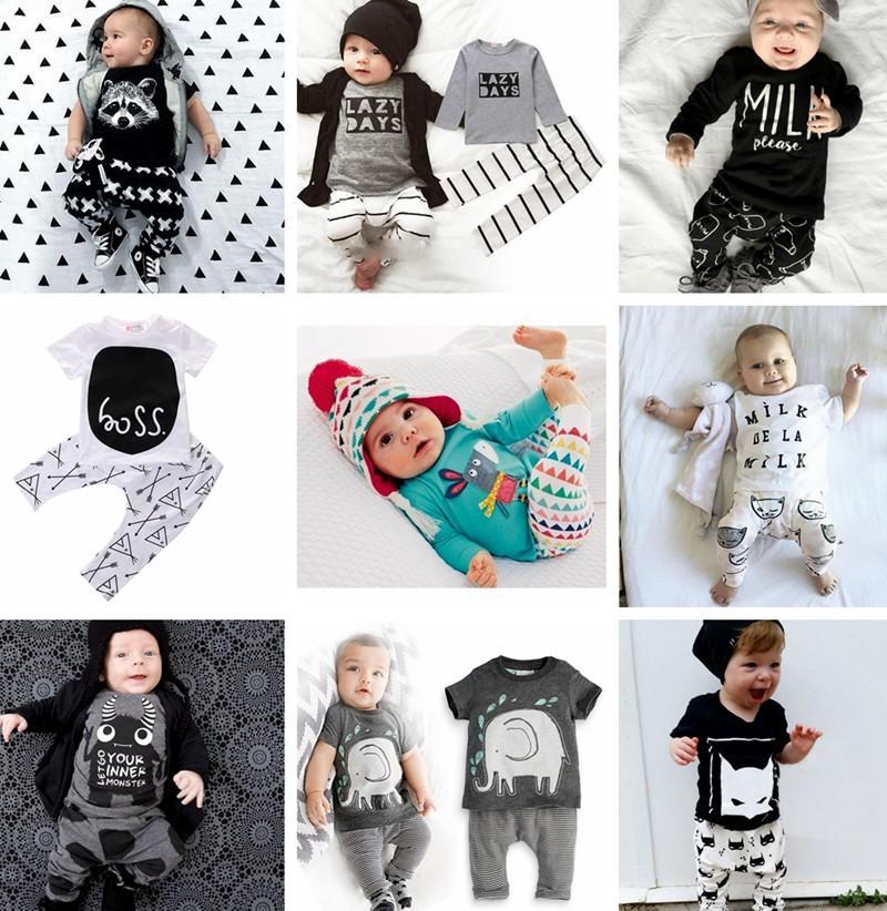 Новые INS Baby Boys Girls письмо устанавливает топ футболка + брюки дети малыш младенческая повседневная с длинным рукавом костюмы Весна дети наряды одежда подарок