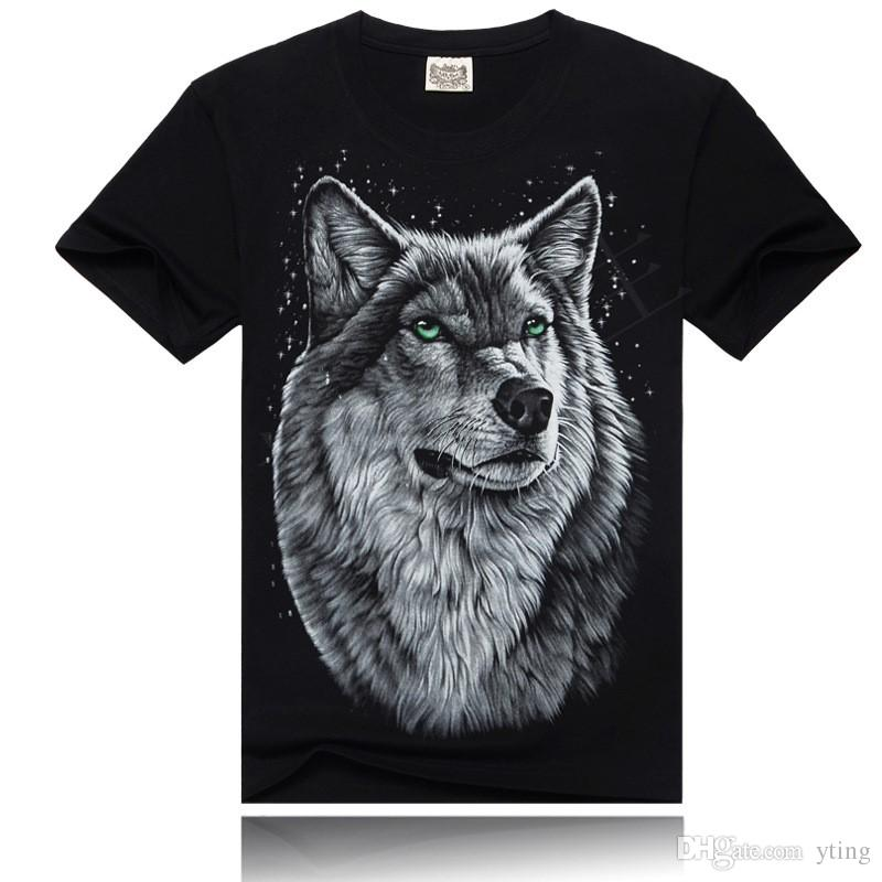 Men T Shirt 2017 Fashion new Mens street European and American style pullover Wolf 3D Print T shirt