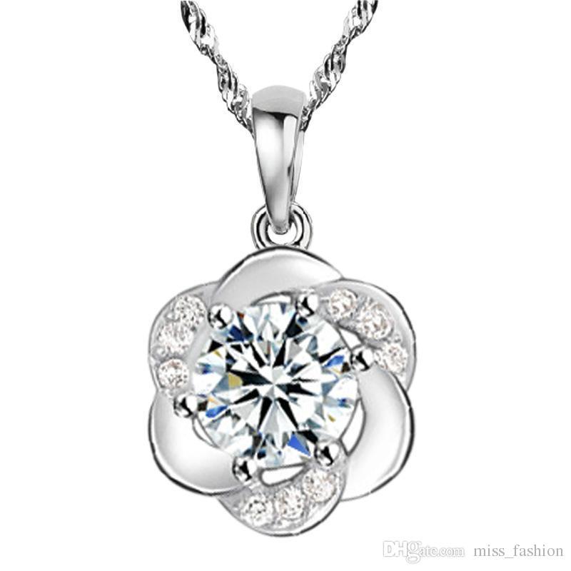 Frete grátis romântico simples cristal claro bonito rodada flor pingente de colar 925 jóias de prata esterlina