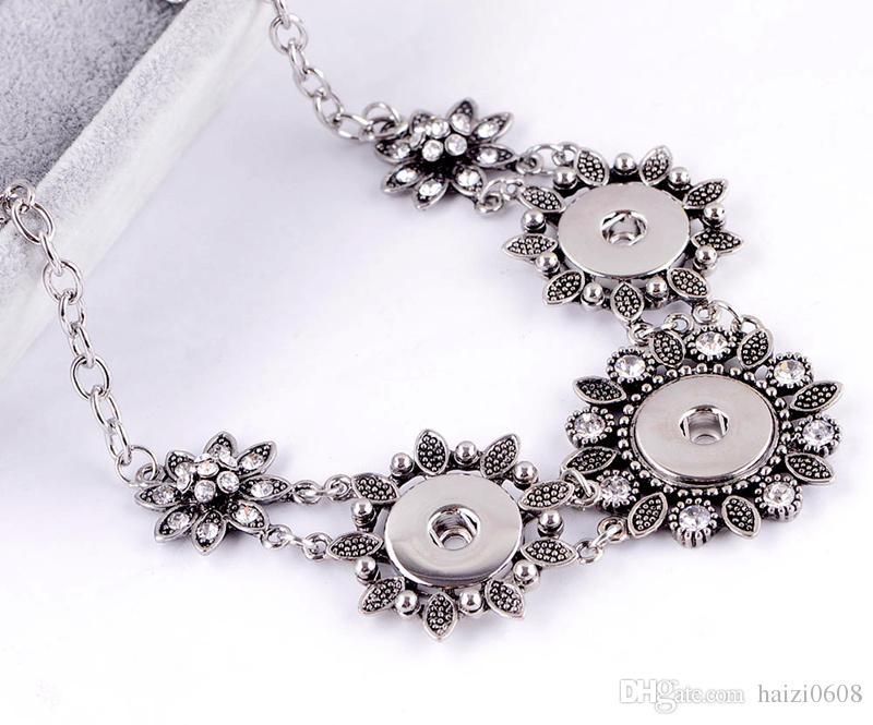Нуса посеребренные имбирь Оснастки кнопка подвески ожерелье с Кристалл DIy женщины ювелирные изделия ожерелье взаимозаменяемые Fit 18 мм Оснастки кнопка