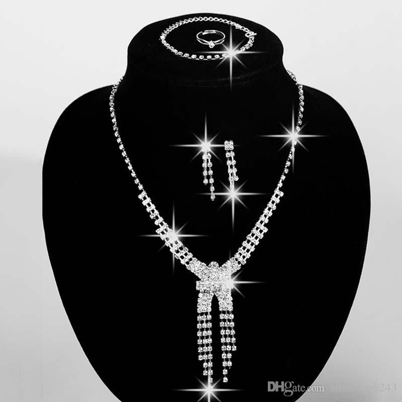 Cheap Wedding Jewelry Rhinestone Necklace and Earrings Set Earrings and Chain Prom Party Jewellery In Stock Bridal Jewelry Sets