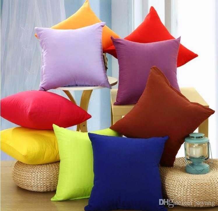 Cotton Linen Pillow Case Sofa Waist Throw Cushion Solid Cover Home Decor
