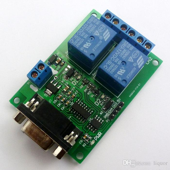2 Channel Serial port Relay Module DC 12V PC Computer USB RS232 DB9 RS485 UART Remote Control Switch Board for Smart Home