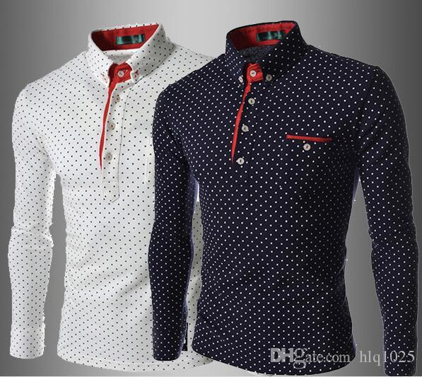NEW Mens Casual Wave Point T-shirt Slim Fit Polka Dot Long Sleeve T-shirt POLO Shirt Tee Tops Free Shipping
