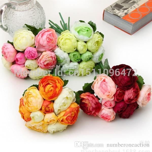 1 mazzo di 10 teste bouquet di fiori di seta artificiale di camelia a fiore rosa per la decorazione di nozze o come bouquet da sposa