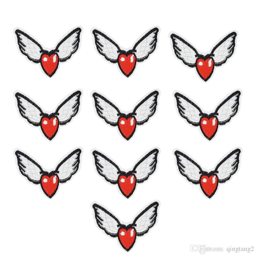 10PCS ali a forma di cuore ricamo patch per abbigliamento ferro patch per vestiti applique accessori per cucire adesivi su vestiti ferro sulla patch