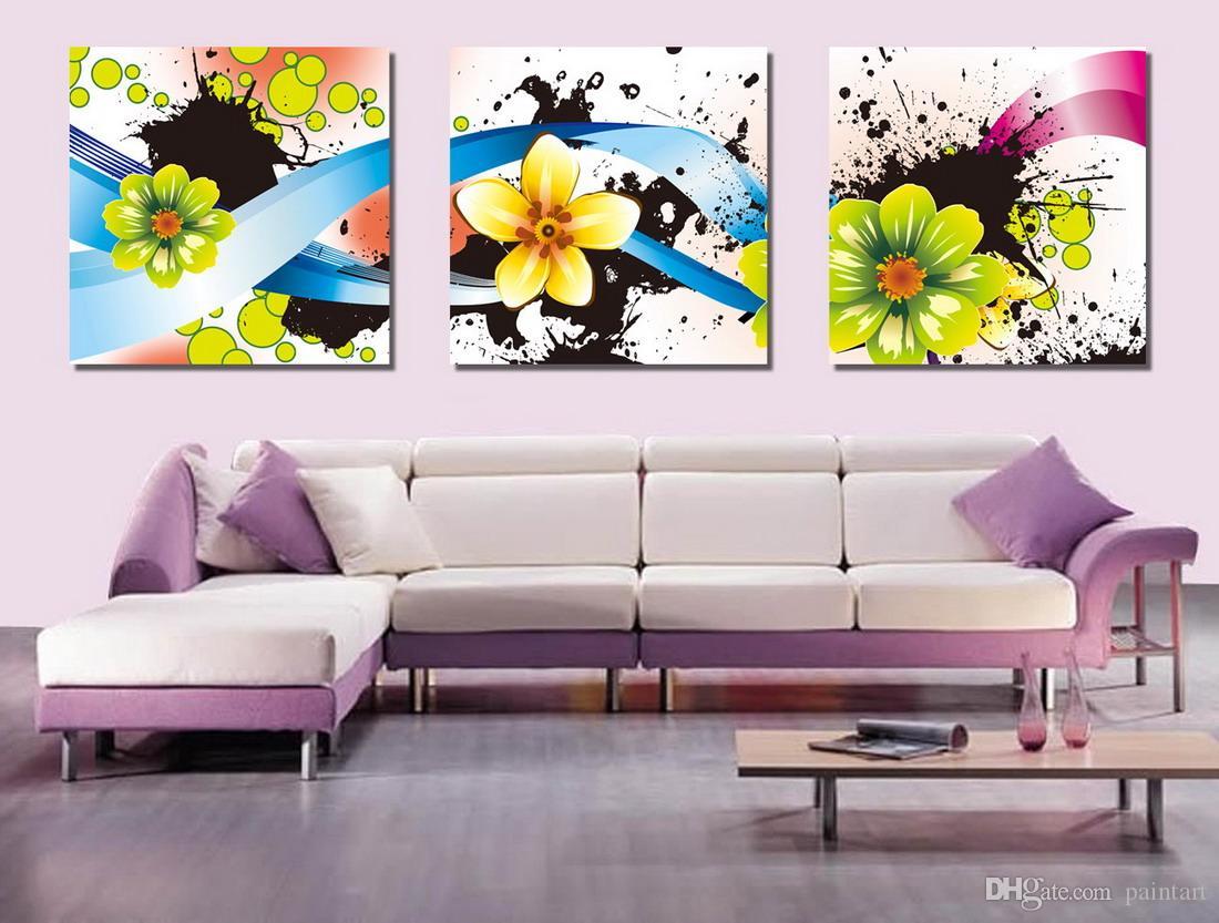 Morden Flores Abstratas Pintura Floral Giclee Impressão Na Lona Decoração Da Parede Home Set30028