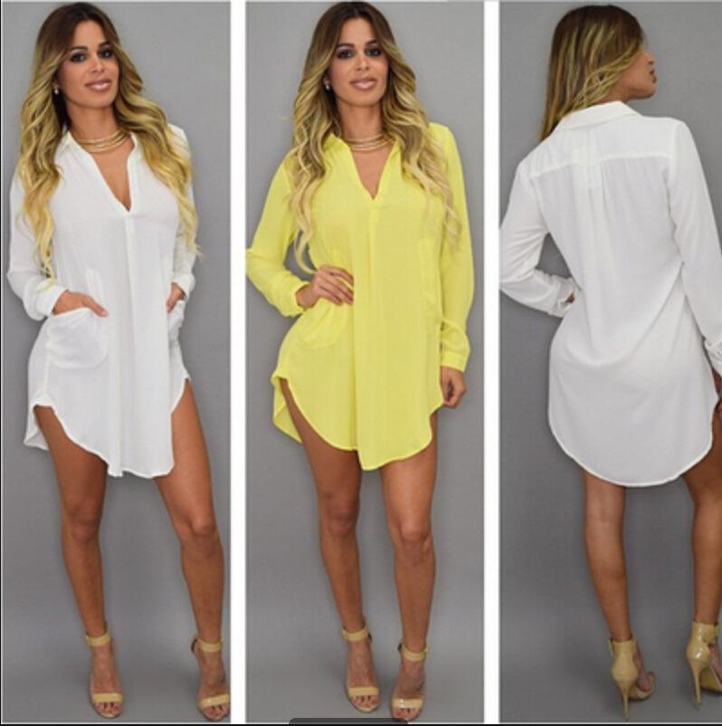 Сексуальные женщины шифон с длинными рукавами свободные нерегулярные длинные рубашки карманные белые рубашки с длинным рукавом карманные повседневная блузка топы плюс размер мини-платье