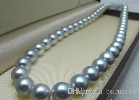 10-11мм природный Южного Моря серебристо-серый жемчужное ожерелье 18 дюймов 14k золото Застежка