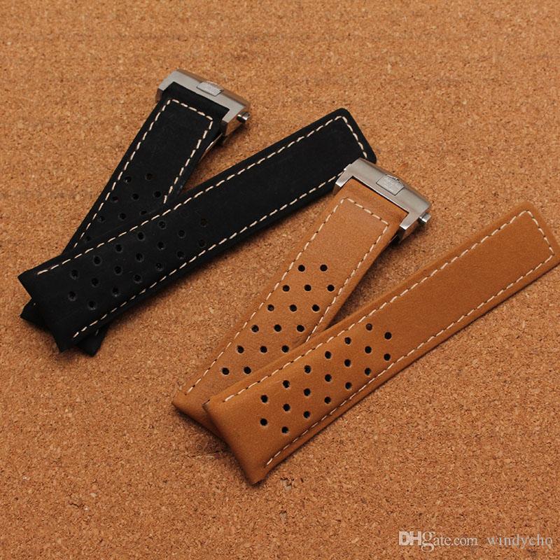Nueva venta caliente de la marca Soft Scrub correa de cuero suave con pulido hebilla plegable 22mm 24mm reloj accesorios bandas envío gratis