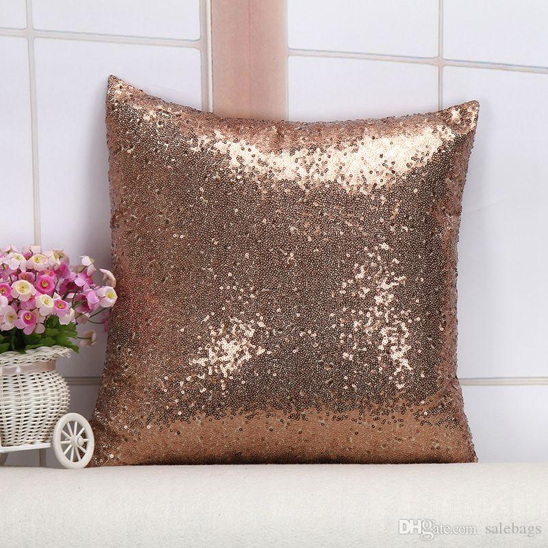 Simple Elegant Pillowcase Home Sofa Chair Throw Pillows Glitter Sequins Solid Color Cushion Covers Wedding Gifts Marriage Room Unique - throw pillows for sofa Unique