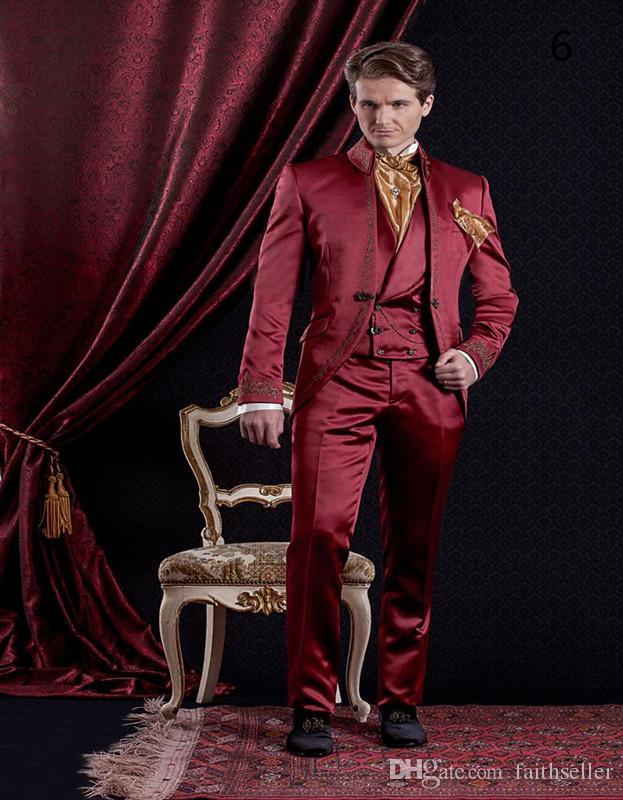 Custom Made Mens Costumes Classique style Imprimer Costumes De Mariage Pour Hommes Marié Smokings Baroque Style Costume Broderie Homme Costume Veste + Pantalon + Gilet