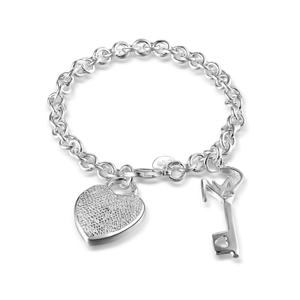 """Elegante pulsera de cadena de eslabones 925 plata esterlina 7mm 8 """"pulsera con llave de corazón"""