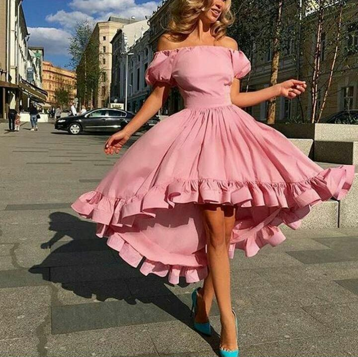 2016 Water Melon Prom Dresses Of the Shoulder Puffy Short Sleeves Tea Length Ruffle Trimming Party Dresses