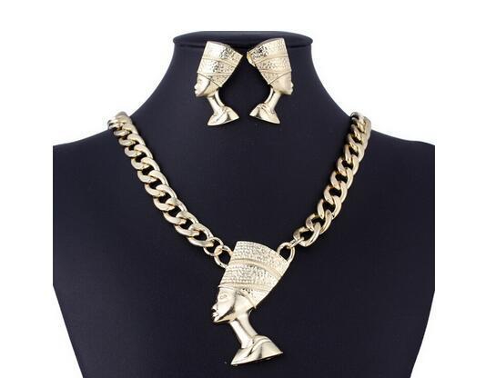 Nowa klasyczna przesada żeńska biżuteria Zestaw prawego symbolu egipskiej biżuterii pharaoh biżuterii klasycznej łańcucha obojczy