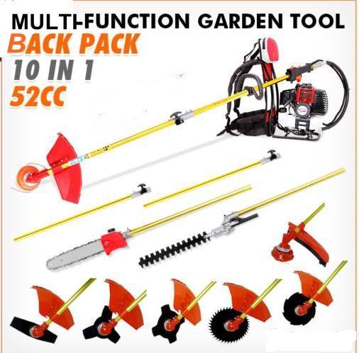 새로운 모델 정원 트리머 knap - 팩 52cc 멀티 브러시 커터, 잔디 절단 기계, Whipper 스나이퍼 체인 톱, HEDGER 첨부 4 여러 블레이드, 확장 기둥이있는 1