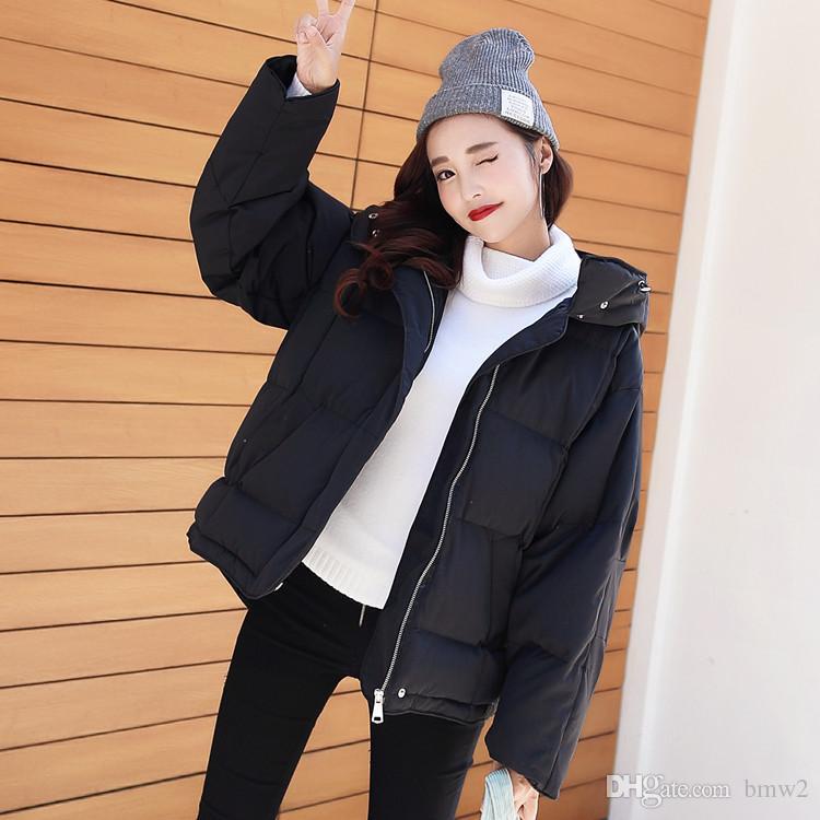 Coreano Mantenga caliente Ropa de algodón con capucha suelta Pluma de algodón BF Negro Estilo de muy buen gusto Chaquetas Nieve Mantenga ropa de abrigo