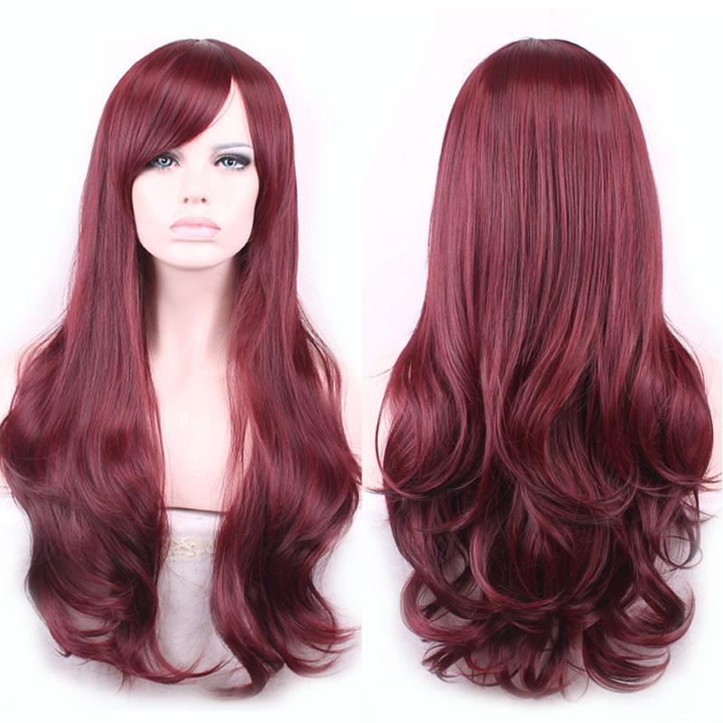 WoodFestival lolita vague cheveux résistant à la chaleur synthétique perruque bangs naturel bourgogne perruques pour les femmes afro-américains