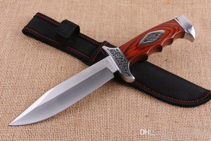 C R KT 313B cuchillo recto 58HRC 5Cr15Mov satén de la hoja de madera colorido de la manija de supervivencia cuchillos de hoja fija