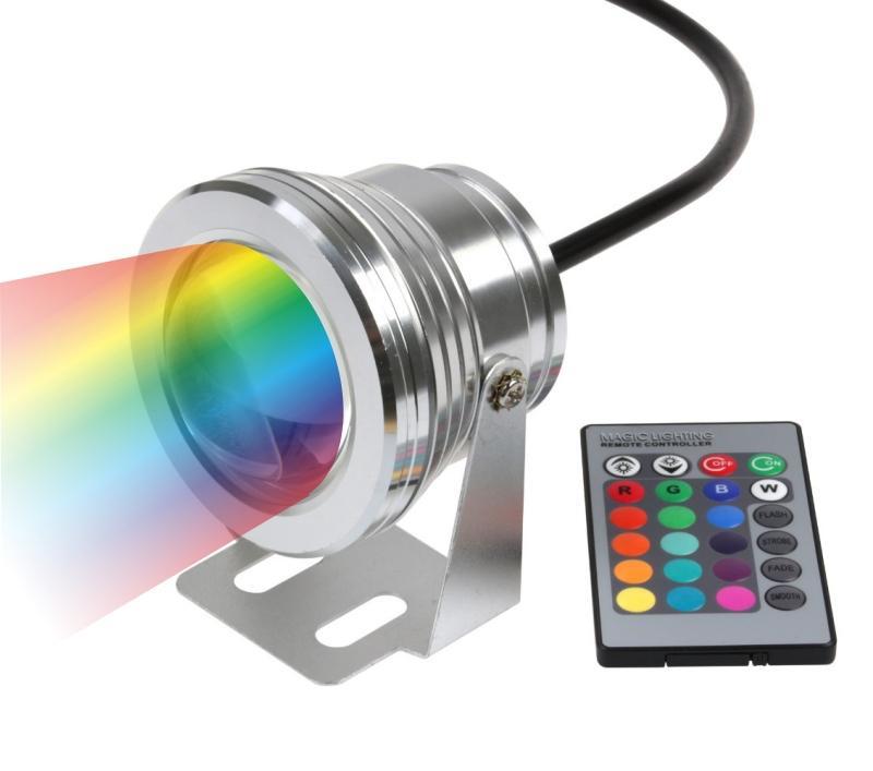10 UNIDS DHL Envío libre + 10 W llevó la iluminación del paisaje rgb cambiando de color LED estanque Lámpara 12V fuente de luz led cambiable ip68