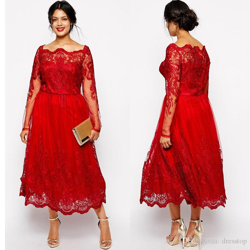 Stunning Red Plus Size Evening Dresses Sleeves Square Neckline Lace  Appliqued A Line Prom Gowns Tulle Tea Length Formal Dress Teen Plus Size  Clothing ...