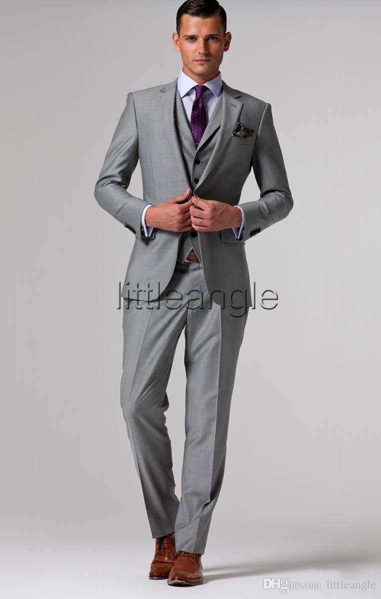 Custom made Mens Light Grey Suits Jacket Pants Formal Dress Men Suit ...